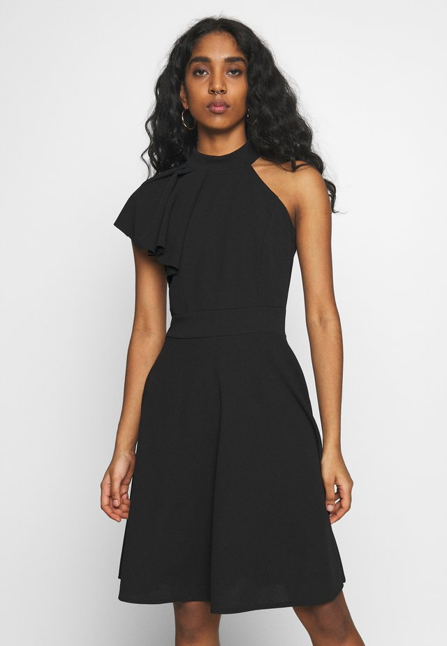 RUFFLE NECK SKATER DRESS - Vestido de cóctel - black