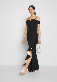 WAL G. - SIDE RUFFLE DETIAL MAXI DRESS - Occasion wear - black/white - 1