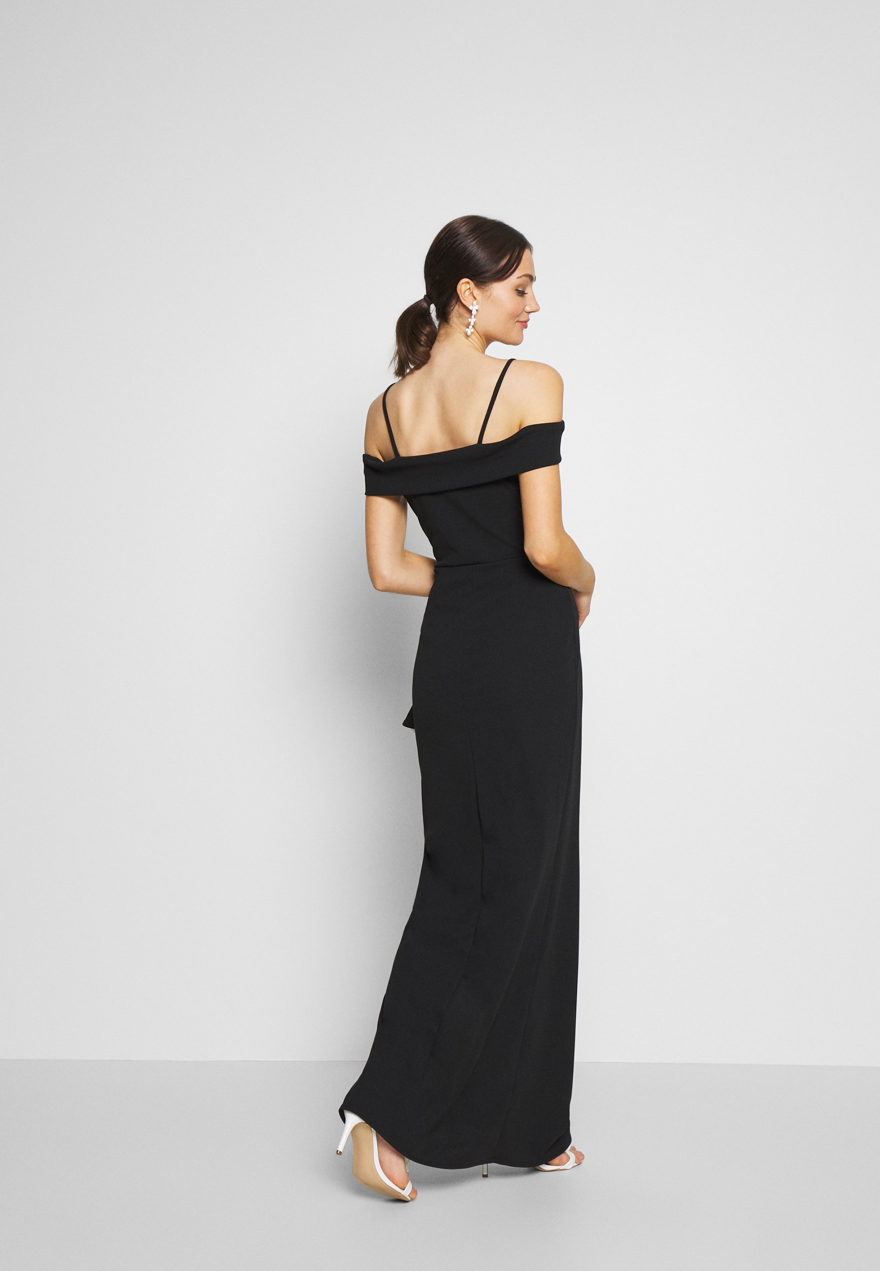 WAL G. SIDE RUFFLE DETIAL MAXI DRESS - Suknia balowa - black/white
