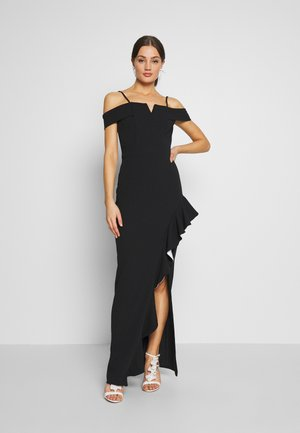 SIDE RUFFLE DETIAL MAXI DRESS - Iltapuku - black/white