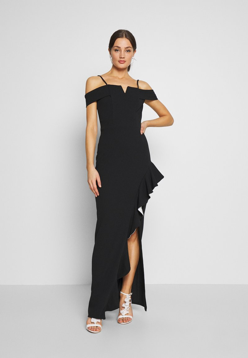 WAL G. - SIDE RUFFLE DETIAL MAXI DRESS - Occasion wear - black/white