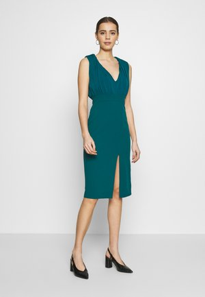 PLUNGE NECK MIDI DRESS - Vestido de cóctel - teal blue