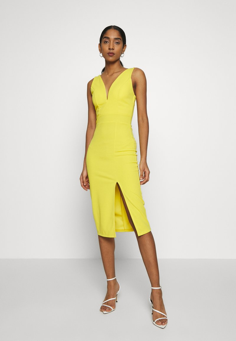WAL G. - V NECK MIDI DRESS WITH CUPS - Cocktailklänning - yellow