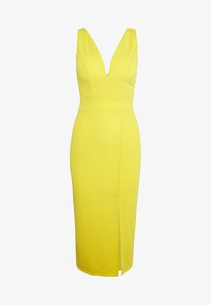 V NECK MIDI DRESS WITH CUPS - Cocktailjurk - yellow