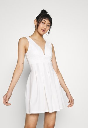 TOP MINI DRESS - Jersey dress - white