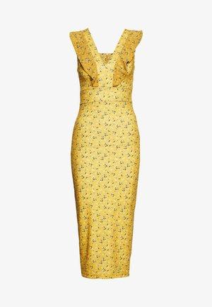 FRILL PRINT MIDI DRESS - Vestido de tubo - yellow
