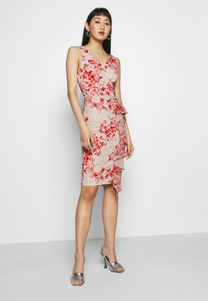 SIDE FRILL PRINTED MIDI DRESS - Žerzejové šaty - pink
