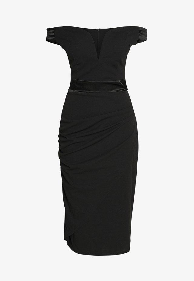 OFF THE SHOULDER MIDI DRESS - Shift dress - black