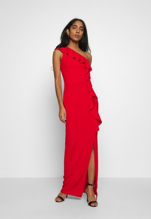 HALTER NECK FRILL MAXI DRESS - Vestido de cóctel - red