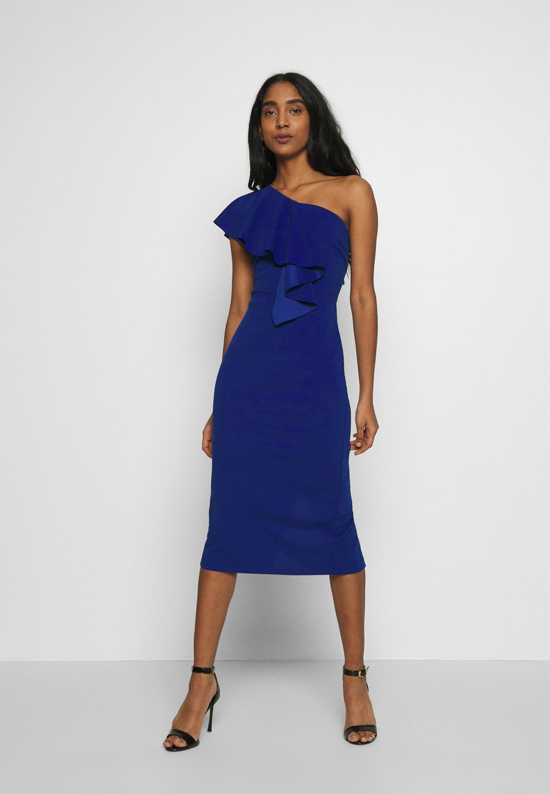 WAL G. - ONE SHOULDER FRILL MIDI DRESS - Juhlamekko - electric blue