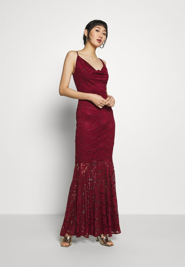 COWL NECK DRESS - Occasion wear - wine