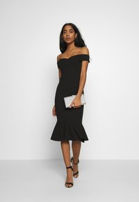 WAL G. - BARDOT FRILL HEM DRESS - Cocktailkjole - black