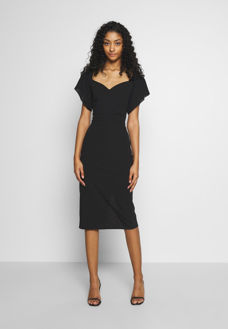 WAL G. - FLARE SLEEVE MIDI DRESS - Cocktailkjole - black