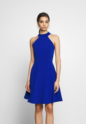 HALTER NECK SKATER DRESS - Cocktail dress / Party dress - electric blue