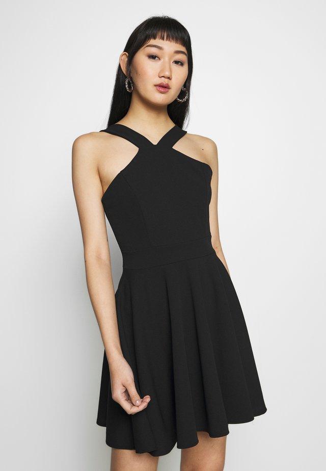 CRISS CROSS NECK SKATER DRESS - Cocktail dress / Party dress - black