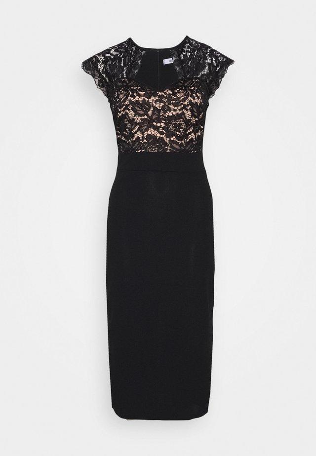 TOP MIDI DRESS - Vestito elegante - black/salmon
