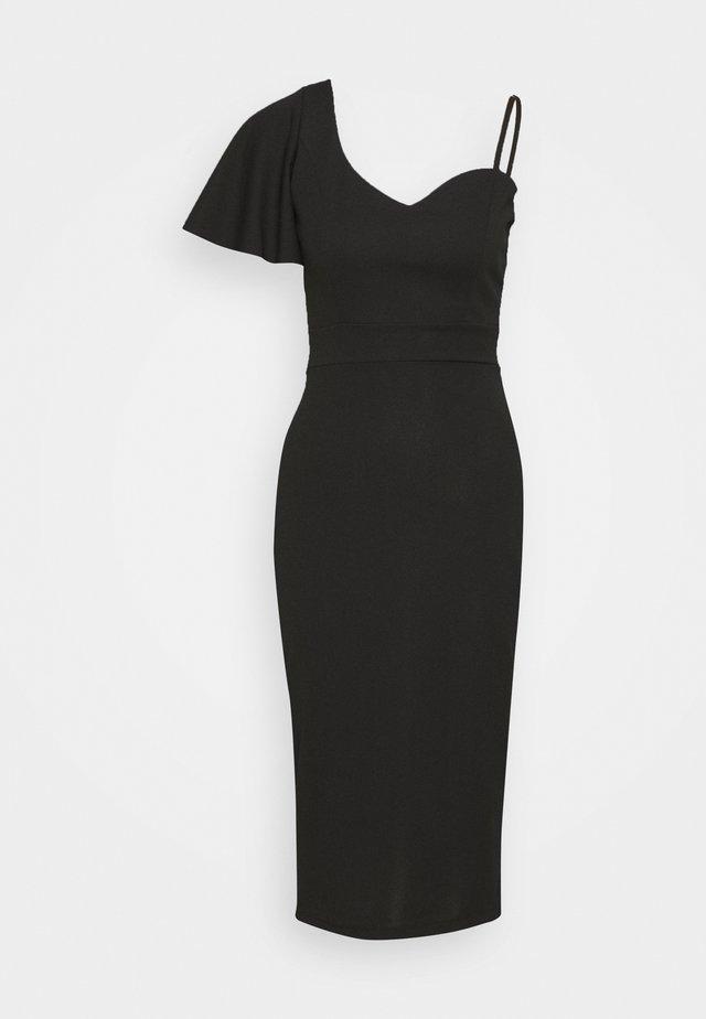 SLEEVE MIDI DRESS - Vestito di maglina - black