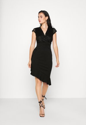 SIDE FRILL DETAIL MIDI DRESS - Cocktailjurk - black