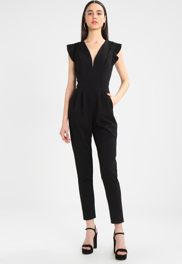 RUFFLE JUMPSUIT WITH BACK INSERT - Kombinezon - black