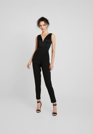 V NECK PLUNGE - Jumpsuit - black