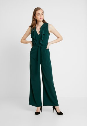 FRILL V NECK PLUNGE COULLOTES - Jumpsuit - forest green
