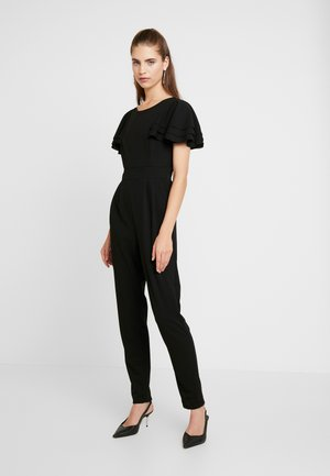 SHORT SLEEVE FRILL SHOULDER - Tuta jumpsuit - black