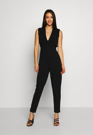 PLUNGE NECK JUMPSUIT - Overal - black