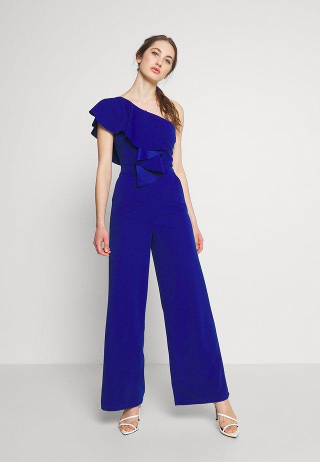 ONE SHOULDER FRILL - Jumpsuit - electric blue