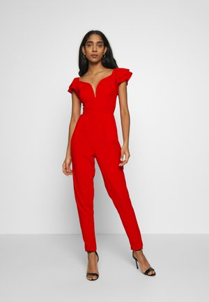 OFF THE SHOULDER MAXI JUMPSUIT - Mono - red