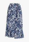 BRUSHED LEOPARD WRAP SKIRT - Wrap skirt - blue/multi