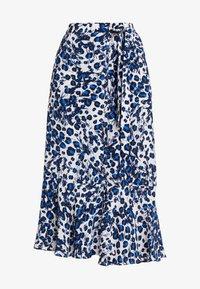 Whistles - BRUSHED LEOPARD WRAP SKIRT - Wrap skirt - blue/multi - 3