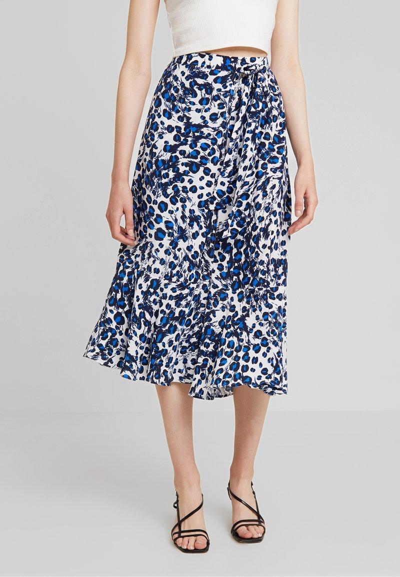 Whistles - BRUSHED LEOPARD WRAP SKIRT - Wrap skirt - blue/multi