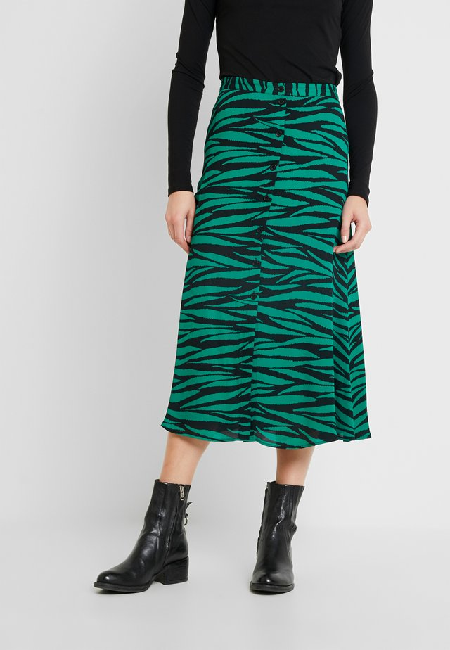 TIGER PRINT BUTTON THROUGH SKIRT - Spódnica trapezowa - green/multi