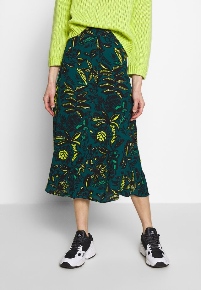 ASSORTED LEAVES PRINT SKIRT - A-line skirt - green/neon yellow