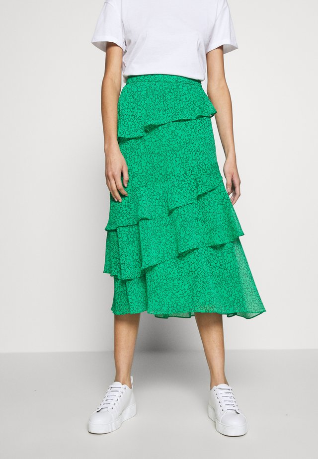 SKETCHED FLORAL TIERED SKIRT - A-Linien-Rock - green