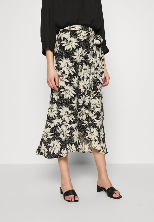 STARBURST FLORAL WRAP SKIRT - A-Linien-Rock - black/white