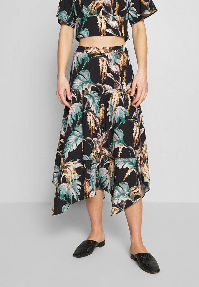 TROPICAL FLORAL SAMIRA SKIRT - A-line skirt - green/multi-coloured