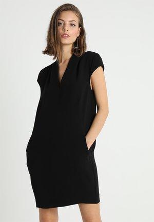 V NECK CREPE DRESS - Korte jurk - black