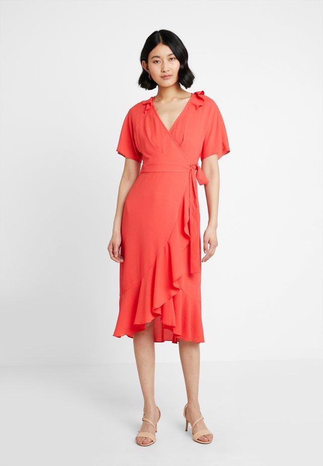 ABIGAIL FRILL WRAP DRESS - Day dress - flamingo