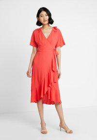 Whistles - ABIGAIL FRILL WRAP DRESS - Day dress - flamingo - 2