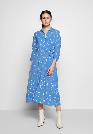 WATERCOLOUR SIDE TIE MIDI DRESS - Shirt dress - blue/white