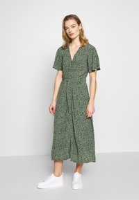 Whistles - ANITA SPOTTED FRILL SLEEVE DRESS - Shirt dress - green/multi - 1
