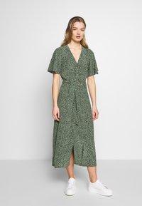 Whistles - ANITA SPOTTED FRILL SLEEVE DRESS - Shirt dress - green/multi - 0