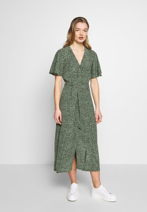 ANITA SPOTTED FRILL SLEEVE DRESS - Shirt dress - green/multi