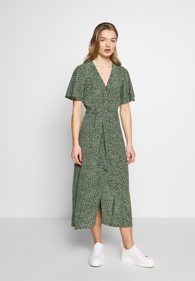ANITA SPOTTED FRILL SLEEVE DRESS - Skjortekjole - green/multi