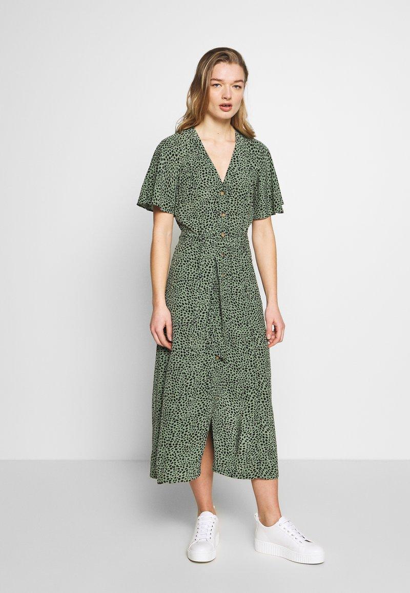 Whistles - ANITA SPOTTED FRILL SLEEVE DRESS - Shirt dress - green/multi