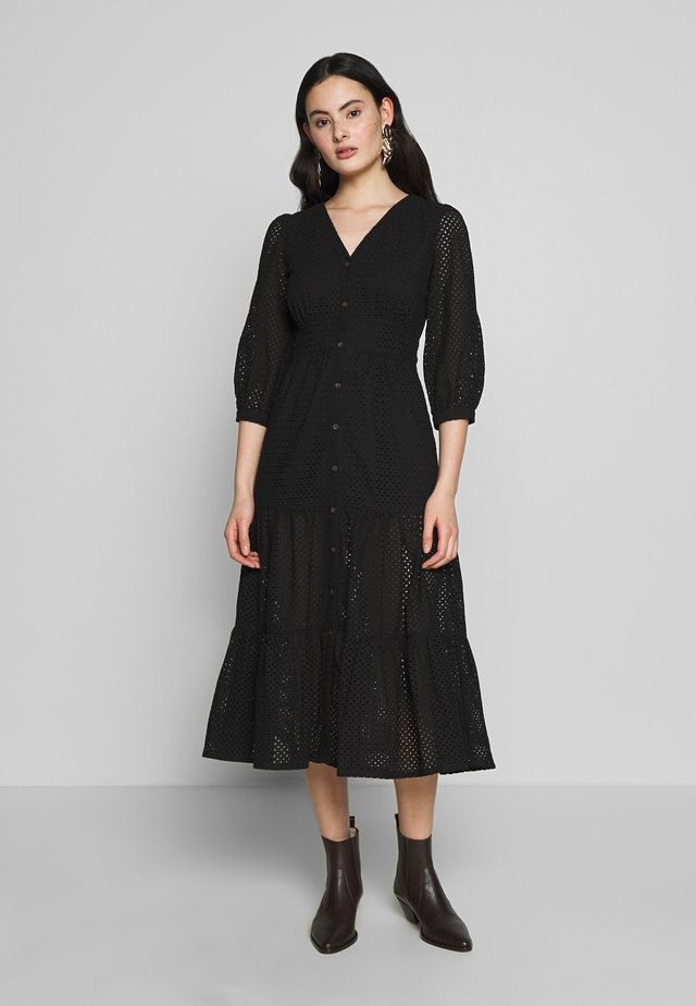 SARA BRODERIE MIDI DRESS - Sukienka letnia - black