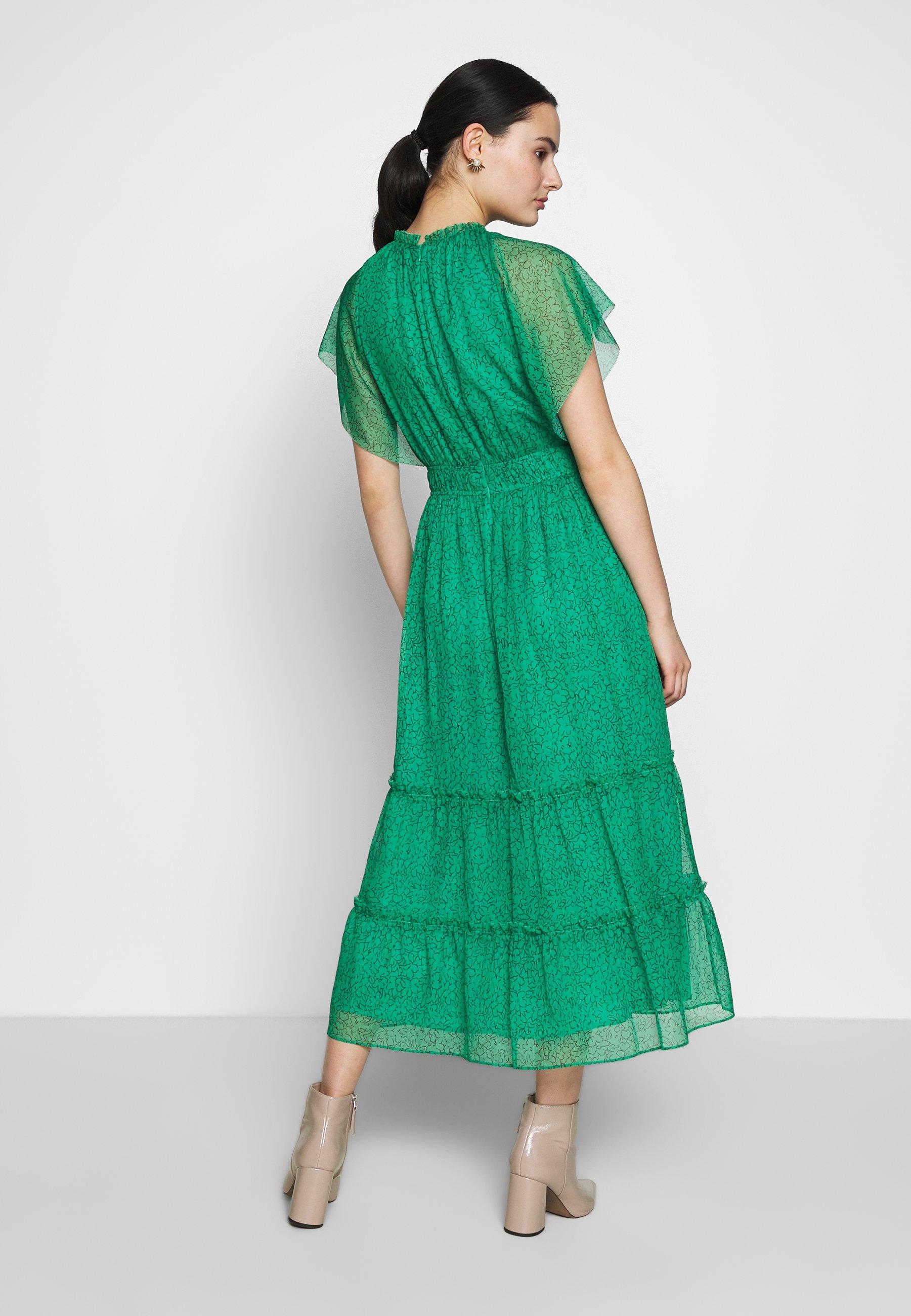 Whistles Sketched Floral Frill Sleeve Dress - Vardagsklänning Green/multi