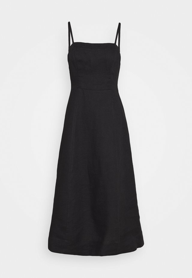 TIE FRONT STRAPPY DRESS - Freizeitkleid - black
