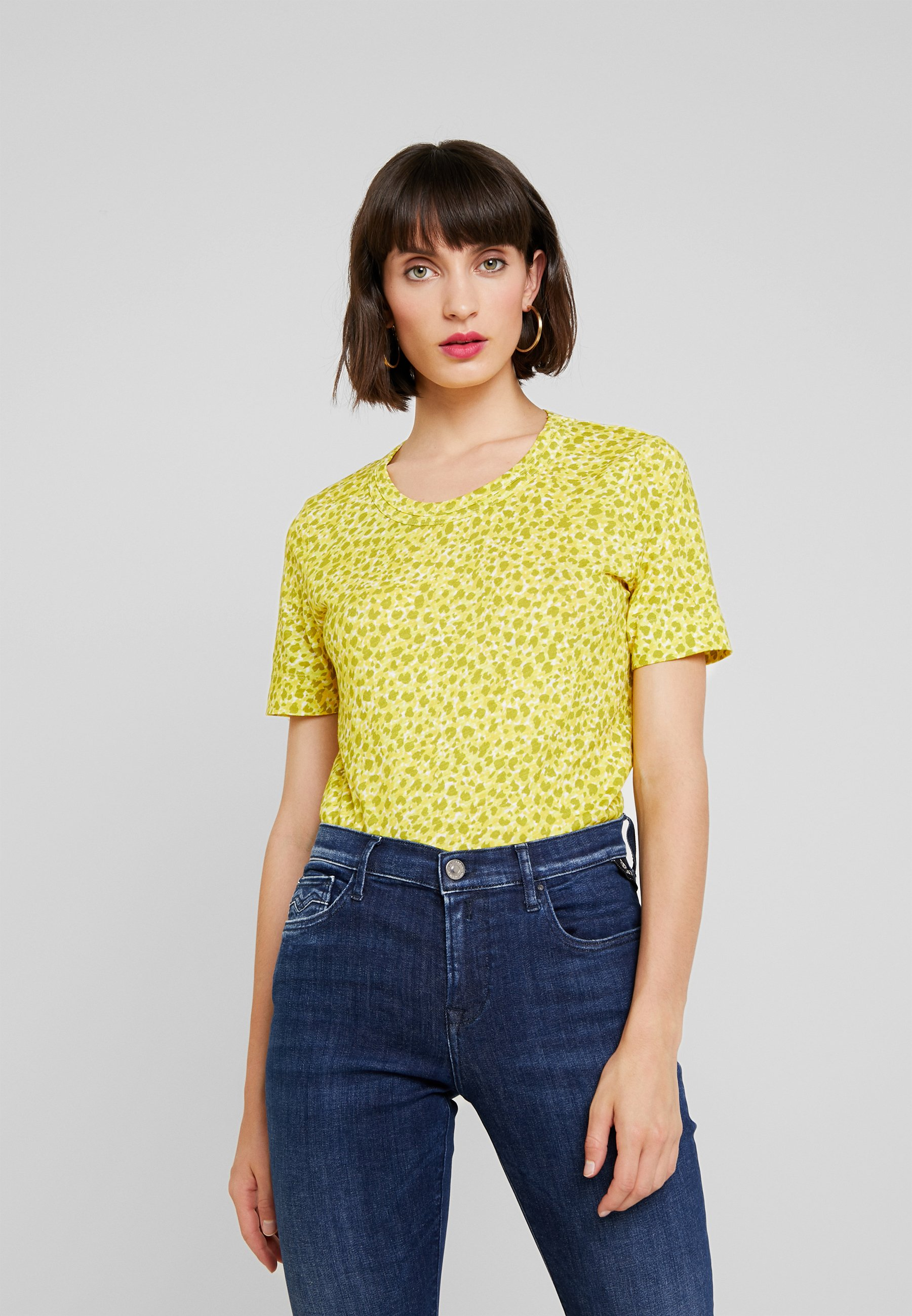 Clouded shirt multi Yellow Print Con Whistles Leopard Stampa TeeT 2DIWEH9